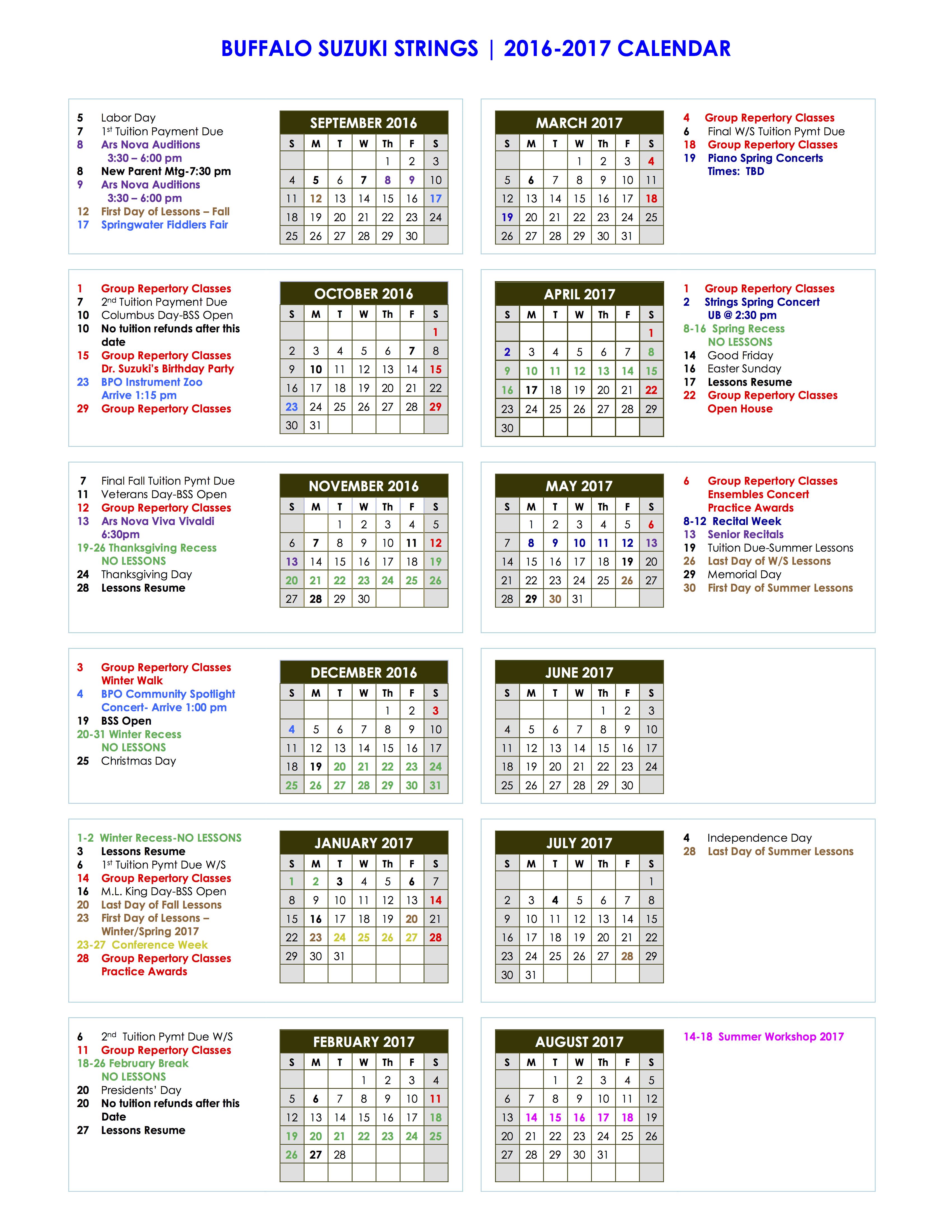 BSS Fam Calendar 2016 2017