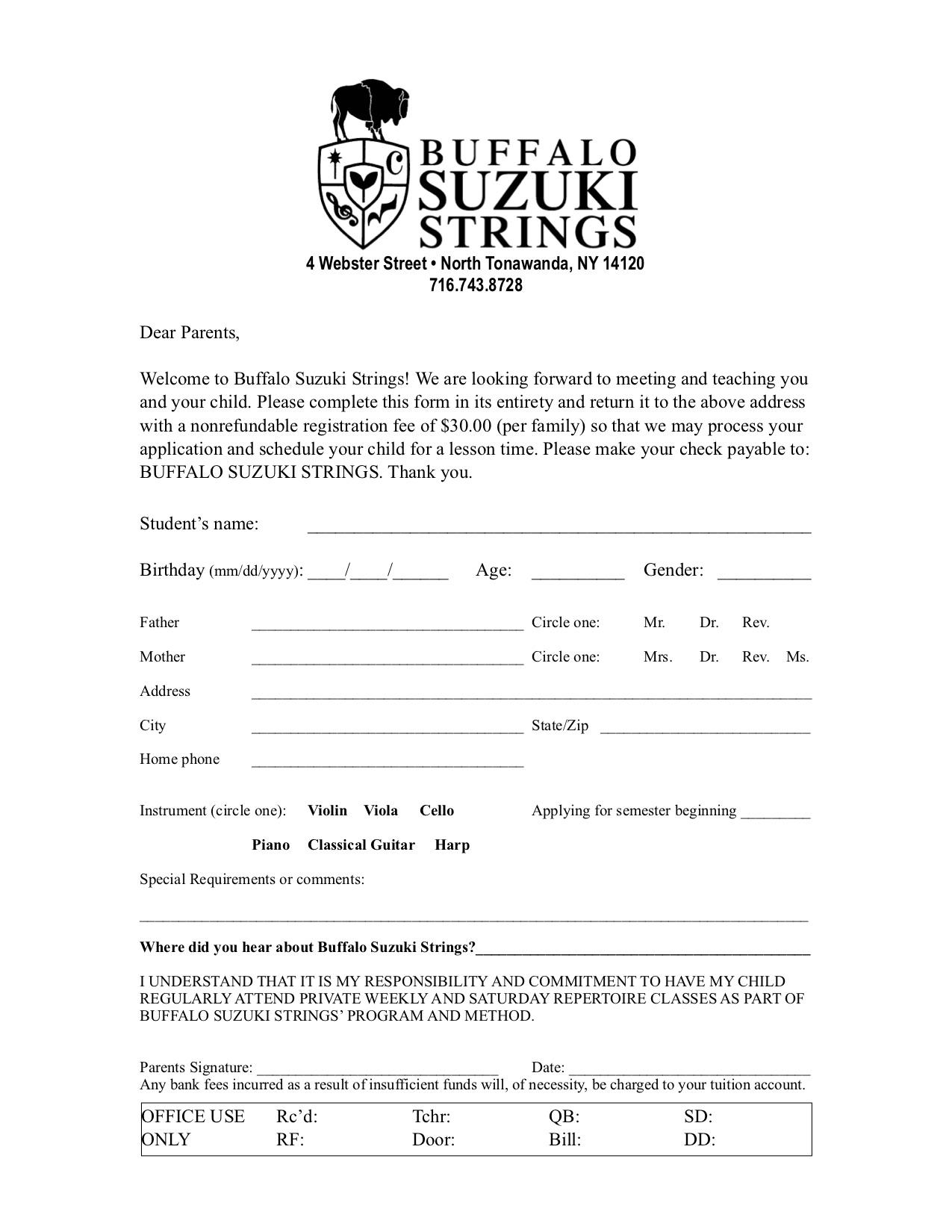 Enrollment Form - Buffalo Suzuki Strings